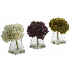 <strong>Nearly Natural</strong> Hydrangea with Vase (Set of 3)