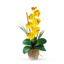 Phalaenopsis Silk Orchid Arrangement in Yellow