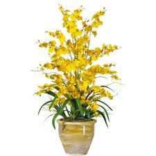 <strong>Nearly Natural</strong> Triple Dancing Lady Silk Orchid Arrangement in Yellow