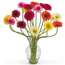 <strong>Nearly Natural</strong> Liquid Illusion Silk Gerber Daisy Arrangement in Mixed