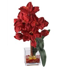 <strong>Nearly Natural</strong> Liquid Illusion Silk Amaryllis Arrangement in Red