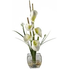 Liquid Illusion Silk Calla Lily in Cream with Vase
