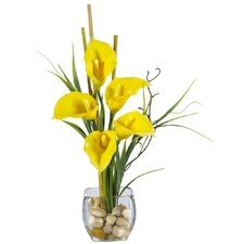 Liquid Illusion Silk Calla Lily Arrangement in Yellow
