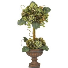 <strong>Nearly Natural</strong> Artichoke Silk Flower Arrangement Topiary in Urn