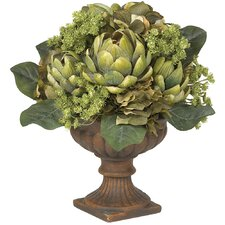 Artichoke Centerpiece Silk Flower Arrangement in Green