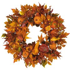 "28"" Harvest Wreath in Russet and Gold"