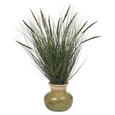 Silk Grass in Round Decorative Vase