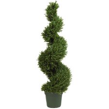 <strong>Nearly Natural</strong> Rosemary Spiral Round Tapered Topiary in Pot