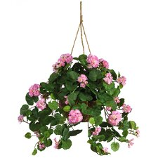<strong>Nearly Natural</strong> Silk Geranium Hanging Plant in Basket