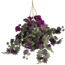 Silk Morning Glory Hanging Plant in Basket