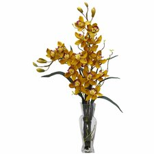 <strong>Nearly Natural</strong> Cymbidium Silk Flower Arrangement in Yellow