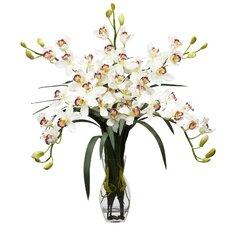 Cymbidium Orchid Silk Flower Arrangement in White