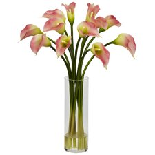 <strong>Nearly Natural</strong> Mini Calla Lily Silk Flower Arrangement in Pink