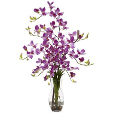 <strong>Nearly Natural</strong> Dendrobium with Vase Silk Flower Arrangement in Purple