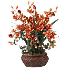 Large Cymbidium Silk Flower Arrangement in Burgundy