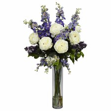 Rose, Delphinium and Lilac Silk Flower Arrangement in Purple