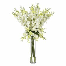 Delphinium Silk Flower Arrangement in White