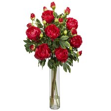 Peony with Cylinder Silk Flower Arrangement in Red