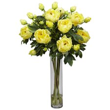 Peony with Cylinder Silk Flower Arrangement in Yellow