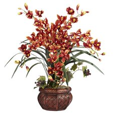 Cymbidium with Decorative Vase Silk Arrangement in Burgundy