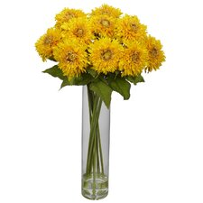 <strong>Nearly Natural</strong> Sunflower with Cylinder Silk Flower Arrangement in Yellow