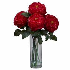 Fancy Rose with Cylinder Vase Silk Flower Arrangement in Red