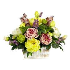 Mixed Floral with White Wash Planter Silk Arrangement