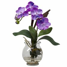 Mini Vanda with Fluted Vase Silk Flower Arrangement in Purple