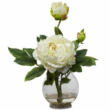 Peony with Fluted Vase Silk Flower Arrangement in White