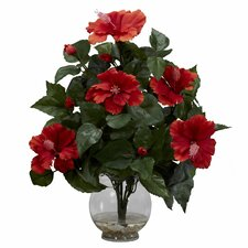 <strong>Nearly Natural</strong> Hibiscus w/Fluted Vase Silk Flower Arrangement