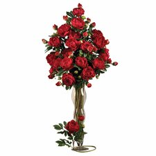 "38.5"" Peony with Leaves Stem in Red (Set of 12)"