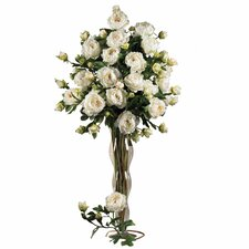 "38.5"" Peony with Leaves Stem in White (Set of 12)"