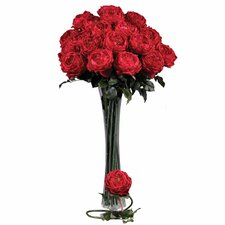 "<strong>Nearly Natural</strong> 31"" Large Rose Stem in Red (Set of 12)"