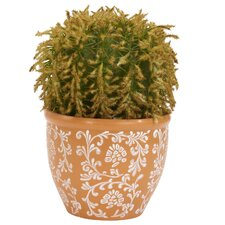 <strong>Nearly Natural</strong> Barrel Cactus Silk Desk Top Plant in Pot
