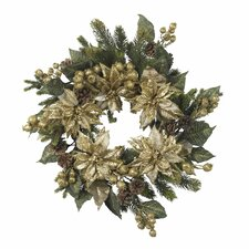 "<strong>Nearly Natural</strong> 24""  Golden Poinsettia Wreath"
