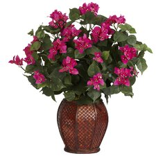 <strong>Nearly Natural</strong> Bougainvillea Silk Desk Top Plant in Decorative Vase