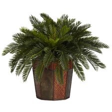 <strong>Nearly Natural</strong> Cycas Octagon Silk Desk Top Plant in Decorative Vase