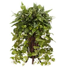 <strong>Nearly Natural</strong> Vining Mixed Floor Plant in Basket