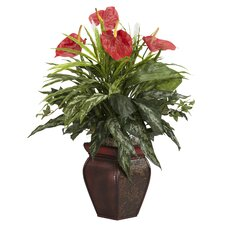Mixed Greens and Anthurium Desk Top Plant in Decorative Vase