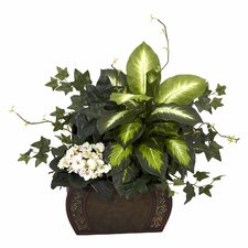 <strong>Nearly Natural</strong> African Violet, Dieffenbachia and Ivy Desk Top Plant in Chest