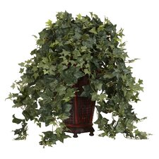 <strong>Nearly Natural</strong> Vining Puff Ivy Floor Plant in Decorative Vase