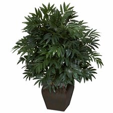<strong>Nearly Natural</strong> Double Bamboo Palm Floor Plant in Decorative Vase