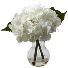 <strong>Nearly Natural</strong> Blooming Hydrangea with Vase Arrangement