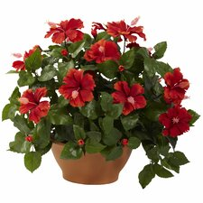 <strong>Nearly Natural</strong> Nearly Natural Hibiscus Desk Top Plant in Planter