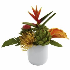 <strong>Nearly Natural</strong> Tropical Floral Arrangement with White Glass Vase