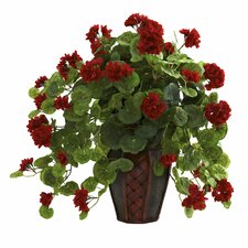 Nearly Natural Geranium Desk Top Plant in Decorative Vase