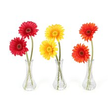 <strong>Nearly Natural</strong> Gerber Daisy in Red / Orange / Yellow with Bud Vase (Set of 3)