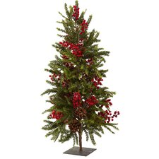<strong>Nearly Natural</strong> Nearly Natural 3' Green Pine and Berry Artificial Christmas Tree