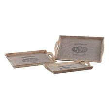 <strong>Sterling Industries</strong> 3 Piece Les Tulips Linen Covered Rectangle Serving Tray Set