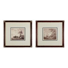 Pastoral Etching 2 Piece Framed Graphic Art Set